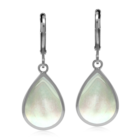 Drop Shape 14x10 mm White Mother of Pearl Inlay 925 Sterling Silver Leverback Dangle Summer Earrings