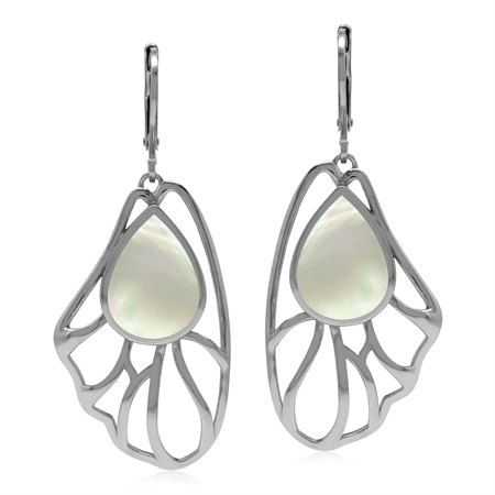 White Mother Of Pearl Free Form Filigree Leaf 925 Sterling Silver Leverback Earrings