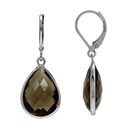 14 Ct 16x12 mm Chekerboard Drop Pear Smoky Quartz 925 Sterling Silver Leverback Earrings