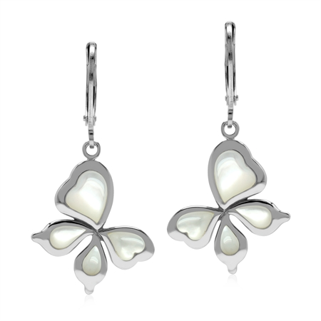 White Mother Of Pearl 925 Sterling Silver Leverback Butterfly Earrings
