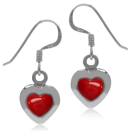 Heart Shape Created Red Coral White Gold Plated 925 Sterling Silver Dangle Hook Earrings