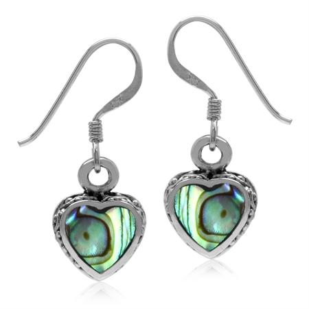 Heart Shape Abalone/Paua Shell Inlay 925 Sterling Silver Dangle Hook Earrings