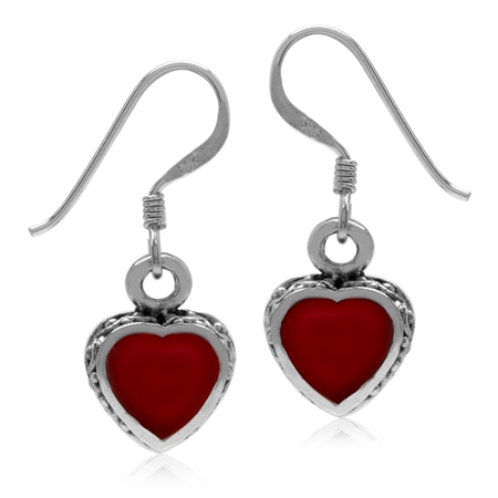Heart Shape Created Red Coral Inlay 925 Sterling Silver Dangle Hook Earrings