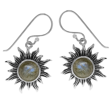 Labradorite 925 Sterling Silver Sun Ray Inspired Dangle Hook Earrings