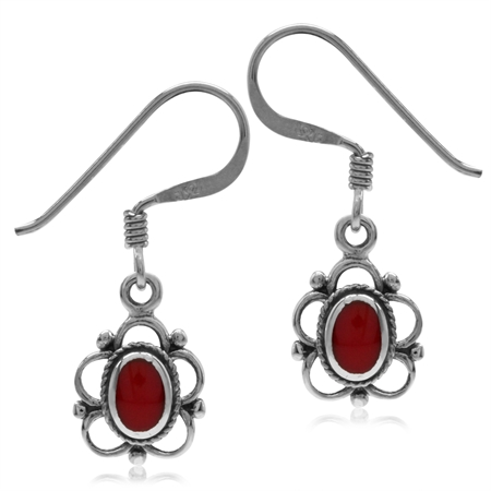 Created Red Coral Inlay Oxidized Finish 925 Sterling Silver Flower Dangle Hook Earrings
