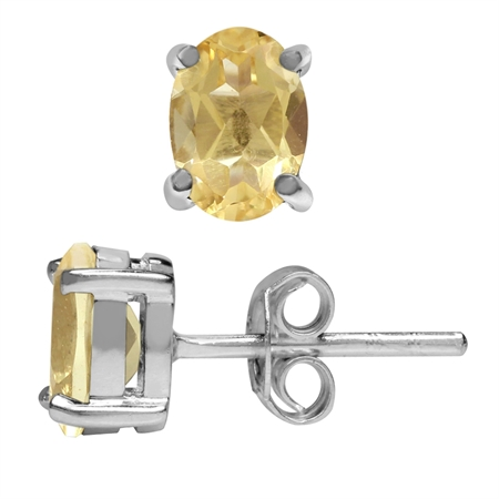 1ct. 7x5MM Natural Oval Shape Citrine White Gold Plated 925 Sterling Silver Stud Earrings