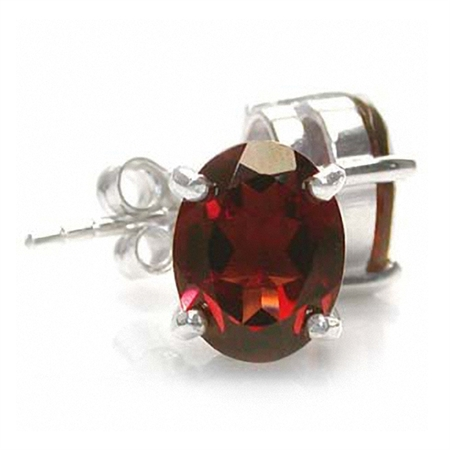 4.54ct. Natural Oval Shape Garnet 925 Sterling Silver Stud Earrings