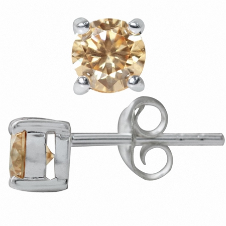 5MM Champagne Cubic Zirconia (CZ) Round Shape 925 Sterling Silver Stud Earrings