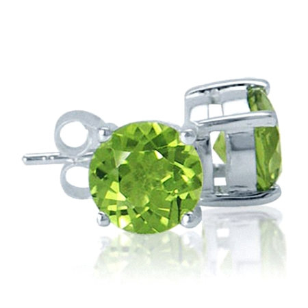 3.38ct. Natural Round Shape Peridot 925 Sterling Silver Stud Earrings