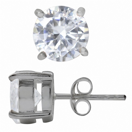 8MM Round White CZ 925 Sterling Silver Stud Earrings