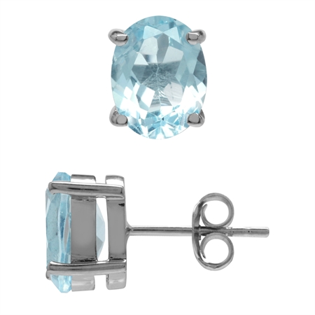 4.34ct. Genuine Blue Topaz 925 Sterling Silver Stud Earrings