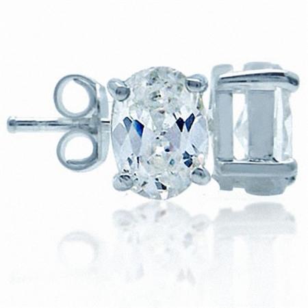 Oval Shape White CZ 925 Sterling Silver Stud Earrings