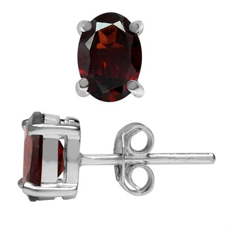 1.62ct. Natural January Birthstone Garnet 925 Sterling Silver Stud Earrings
