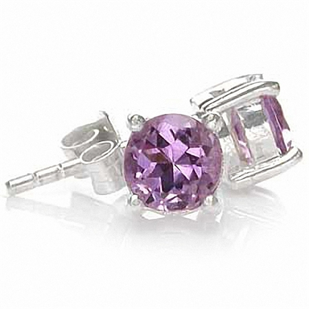 Natural February Birthstone Amethyst 925 Sterling Silver Stud Earrings
