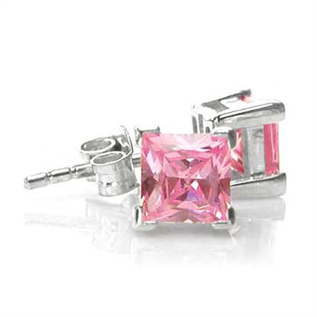 Square Pink Cubic Zirconia (CZ) 925 Sterling Silver Stud Earrings