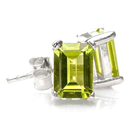 2.2ct. 7x5MM Natural Octagon Shape Peridot 925 Sterling Silver Stud Earrings
