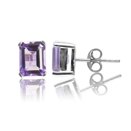 2.98ct. Natural Amethyst 925 Sterling Silver Stud Earrings