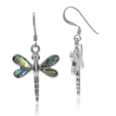 Abalone/Paua Shell Inlay White Gold Plated 925 Sterling Silver Dragonfly Dangle Hook Earrings