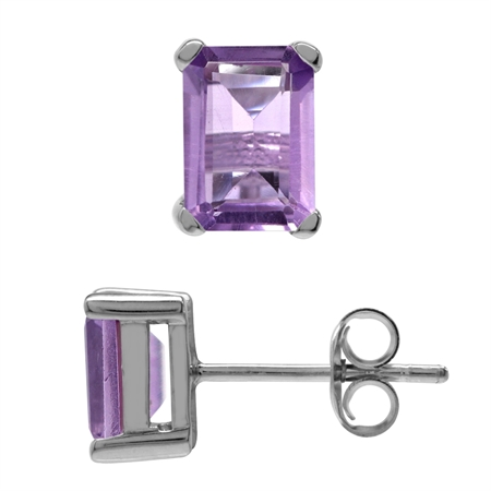2.04ct. 7x5MM Natural Octagon Shape Amethyst White Gold Plated 925 Sterling Silver Stud Earrings