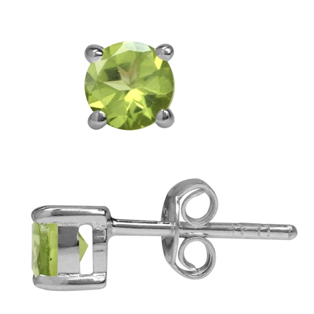 1.24ct. Petite Natural Round Shape Peridot 925 Sterling Silver Stud Earrings