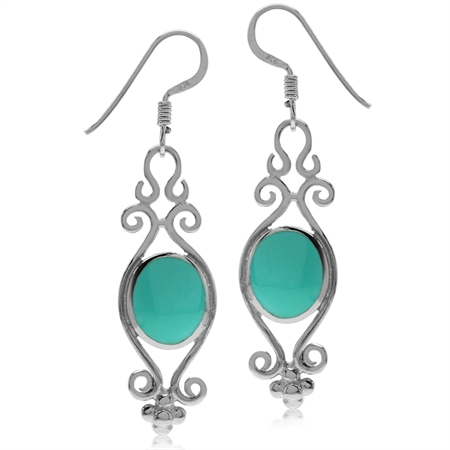 Created Turquoise Inlay White Gold Plated 925 Sterling Silver Victorian Style Dangle Hook Earrings