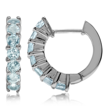2.1ct. Genuine Blue Topaz White Gold Plated 925 Sterling Silver Journey Huggie Earrings
