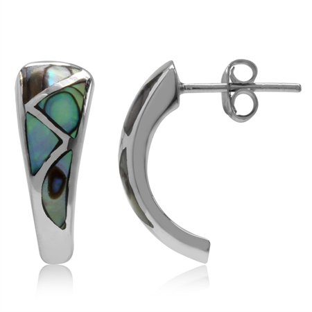 Abalone/Paua Shell Inlay White Gold Plated 925 Sterling Silver Post Earrings