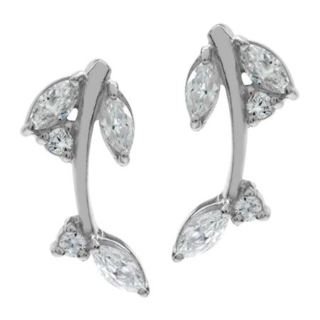 White CZ 925 Sterling Silver Leaf Post Earrings