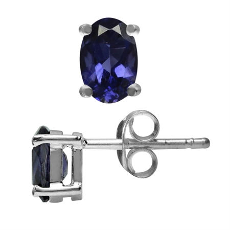 6x4MM Petite Natural Oval Shape Iolite White Gold Plated 925 Sterling Silver Stud Earrings