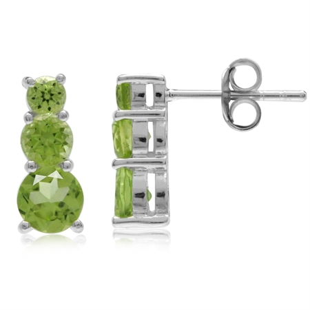 1.96ct. 3-Stone Natural Peridot White Gold Plated 925 Sterling Silver Post Earrings