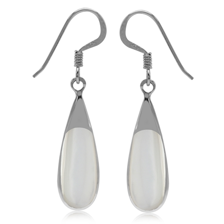 Mother Of Pearl Inlay White Gold Plated 925 Sterling Silver Drop Dangle Earrings