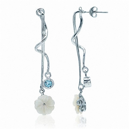 CLEARANCE Blue Topaz & Mother Of Pearl Flower Sterling Silver Earrings