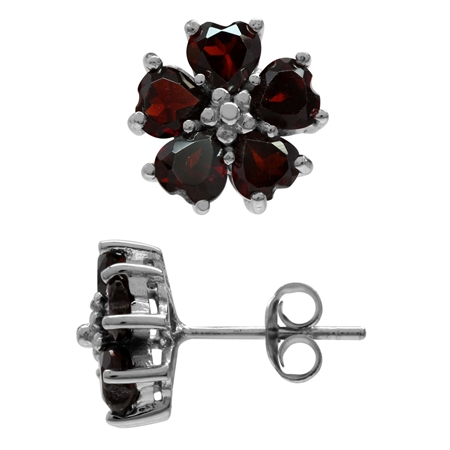 2.9ct. Natural Heart Shape Garnet 925 Sterling Silver Flower Earrings