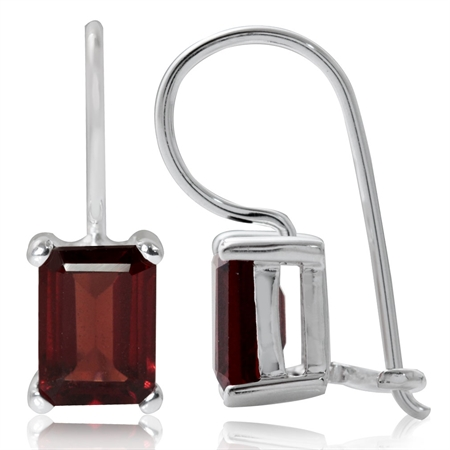 2.64ct. 7x5MM Natural Octagon Shape Garnet 925 Sterling Silver Hook Closure Earrings