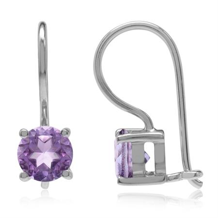 1.8ct. Natural Amethyst 925 Sterling Silver Closure Hook Earrings