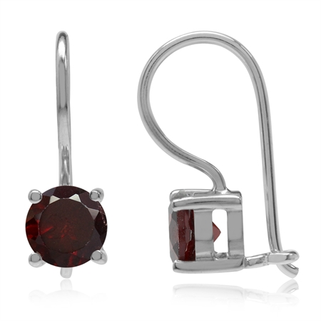 1.88ct. Natural January Birthstone Garnet 925 Sterling Silver Closure Hook Earrings