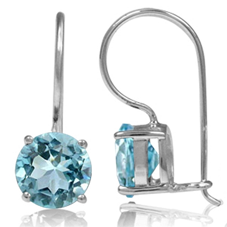 4.82ct. Genuine 8MM Round Blue Topaz 925 Sterling Silver Hook Closure Earrings