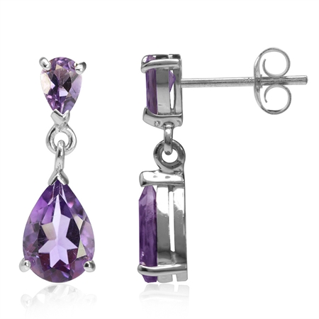 4.38ct. Natural Pear Shape Amethyst White Gold Plated 925 Sterling Silver Drop Dangle Earrings