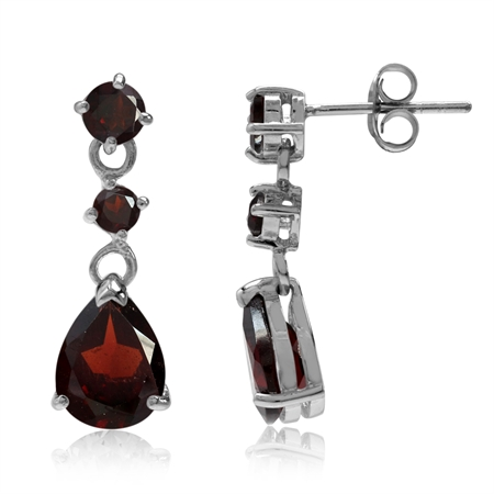 5.06ct. Natural Garnet 925 Sterling Silver Drop Dangle Post Earrings
