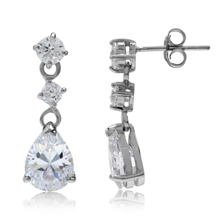 White Cubic Zirconia (CZ) 925 Sterling Silver Drop Dangle Earrings