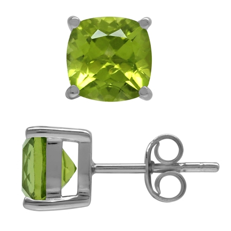 3.26ct. 7MM Natural Cushion Shape Peridot 925 Sterling Silver Stud Earrings