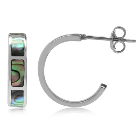 Abalone/Paua Shell Inlay White Gold Plated 925 Sterling Silver C-Hoop Earrings