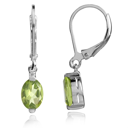 1.64ct. 7x5MM Petite Natural Peridot 925 Sterling Silver Leverback Dangle Earrings