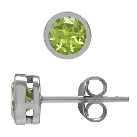1.12ct. 5MM Natural Round Shape Peridot 925 Sterling Silver Bezel Set Stud Earrings