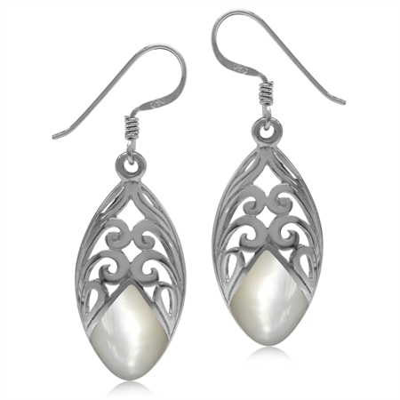 Mother Of Pearl Inlay White Gold Plated 925 Sterling Silver Filigree Drop Dangle Earrings