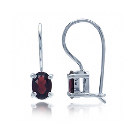 1.9ct. 7x5MM Natural Oval Shape January Birthstone Garnet 925 Sterling Silver Hook Closure Earrings