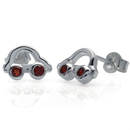 Garnet Sterling Silver Folk Car Stud Earrings