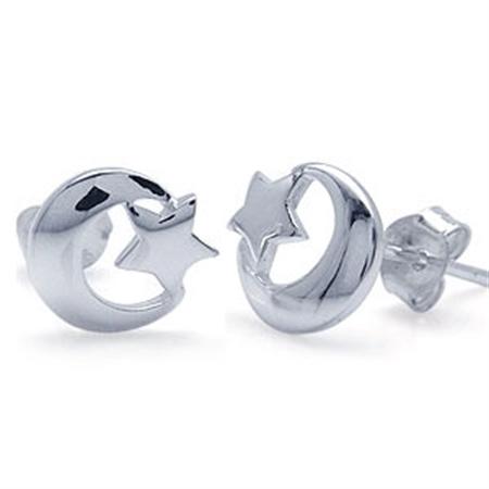 Star & Crescent Moon 925 Sterling Silver Stud Earrings