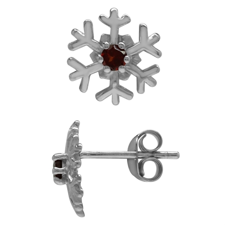Petite Natural Garnet 925 Sterling Silver Snowflake Stud Earrings