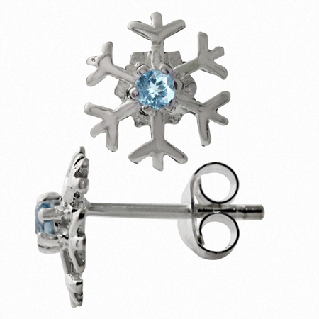 Petite Genuine Blue Topaz 925 Sterling Silver Snowflake Stud Earrings